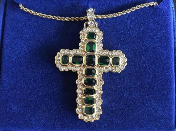 Jackie Kennedy GP Simulated Emerald Aura Cross by SCLadyDiJewelry