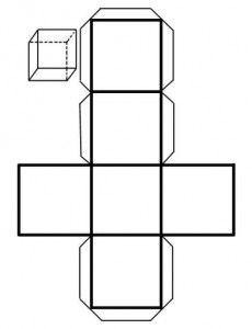 Cubo. recortable figuras geometricas bidimensionales