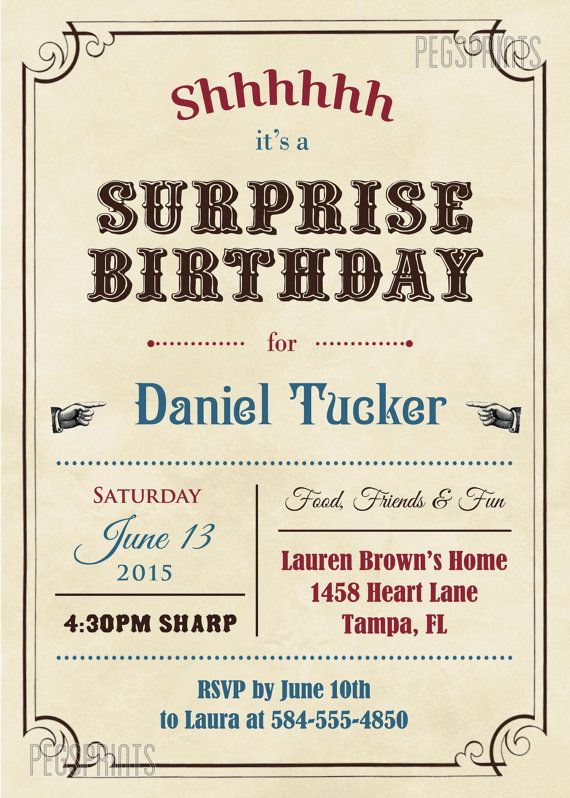 adult surprise birthday invites vintage surprise party invitation printable birthday invitations for boys birthday invitations for men - Surprise Party Invites