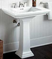 pedastal sink in the bathroom | Sharing a Bathroom? Vanity Designs for bathrooms will save the Day!