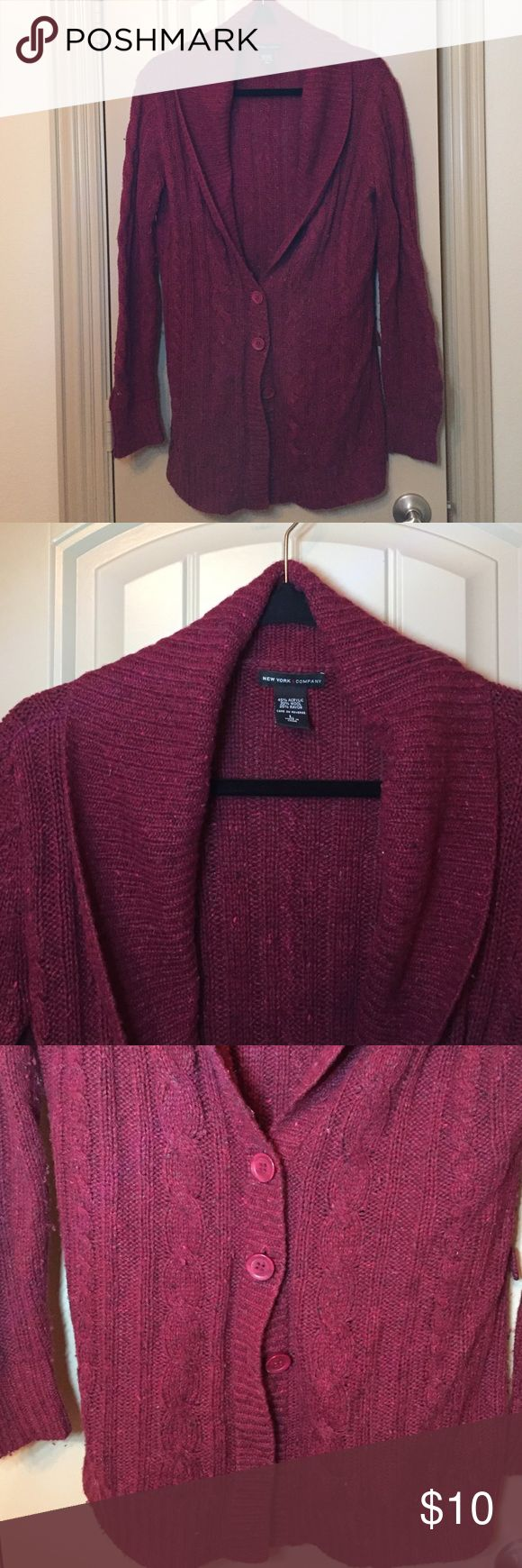 Ny&co burgundy cardigan Burgundy sweater cardigan with 4 buttons. Acrylic, wool and rayon. Size L. New York & Company Sweaters Cardigans