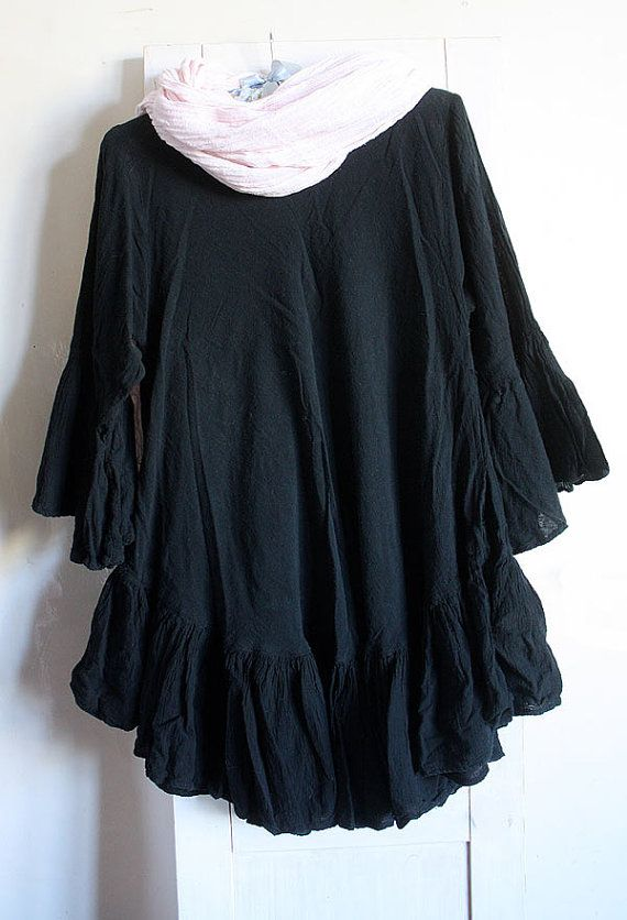 Cotton tunic dress ruffle black oversize by GreenHouseGallery