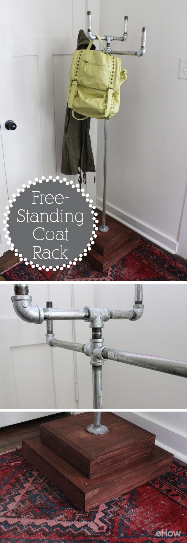 Industrial chic for the win! DIY your own free-standing coat rack in just a simple afternoon with this easy, step-by-step tutorial. The pipes just screw into each other. It's eye catching and perfect for your entry way!  http://www.ehow.com/how_6515871_build-standing-coat-rack.html?utm_source=pinterest.com&utm_medium=referral&utm_content=freestyle&utm_campaign=fanpage
