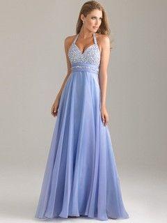 Chiffon Halter Floor-length A-line Beading Ball Dresses #PLS02022527