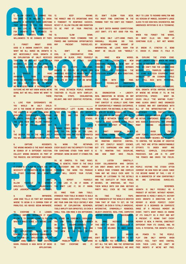 Incomplete Manifesto For Growth Matt Sidebottom