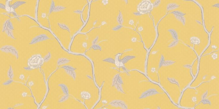Marianne Yellow (401-32) - Sandberg Wallpapers - A delicate, airy, floral trailing tree design with birds, inspired by classic 18th century designs. Shown in the soft grey, beige on deep yellow. Non-woven paste the wall product.  Please request a sample for true colour match.