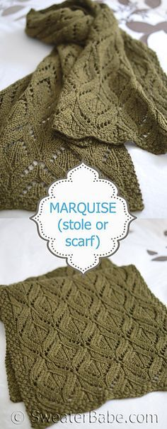 Marquise Stole or Scarf knitting pattern. A beautiful option for that cashmere or luxe merino wool worsted-weight in my stash!