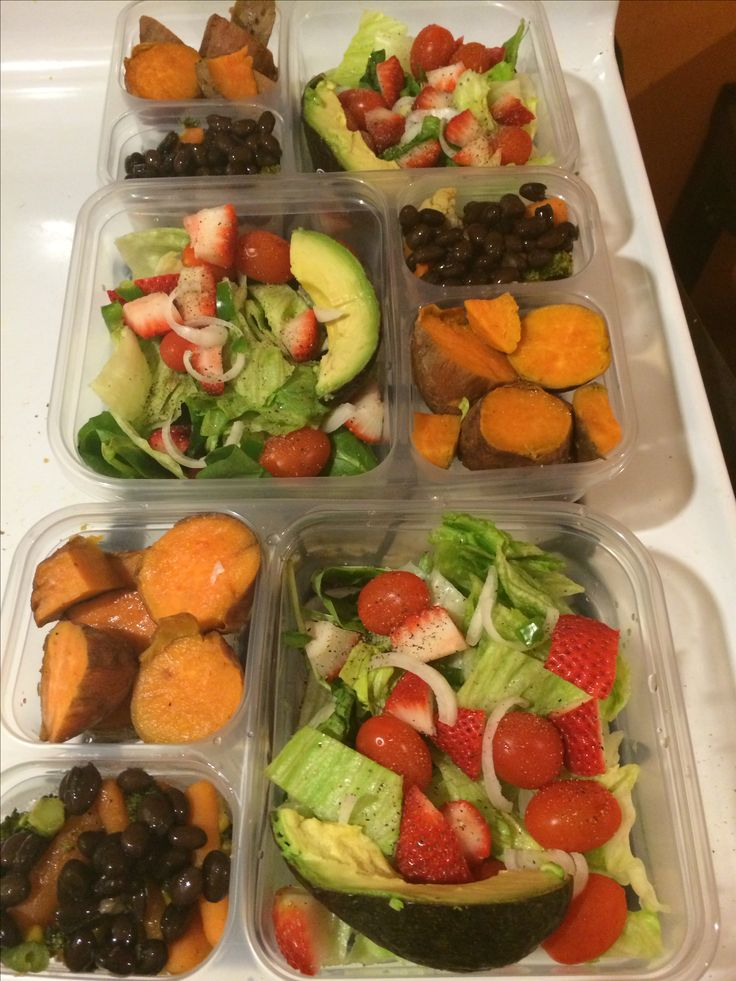 Meal Prep for my Daniel fast. Sweet Potatoes Baked whole at 350 degrees for one hour and then cut for portioning. Mixed Veggies/Black Beans Vegetables were steamed with seasoning (black pepper, onion and garlic powder). Black beans are from the can Salad Raw spinach, lettuce, strawberries, cherry tomatoes, onions, green pepper and a slice of avocado. Sprinkled a little black pepper on top for flavor. I plan to eat it with a balsamic vinaigrette.