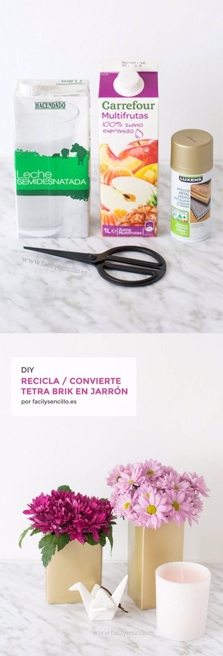 Jarrones DIY reciclando Tetra Brik - facilysencillo.es - DIY Upcycled Tetra Pak to Gold Planters