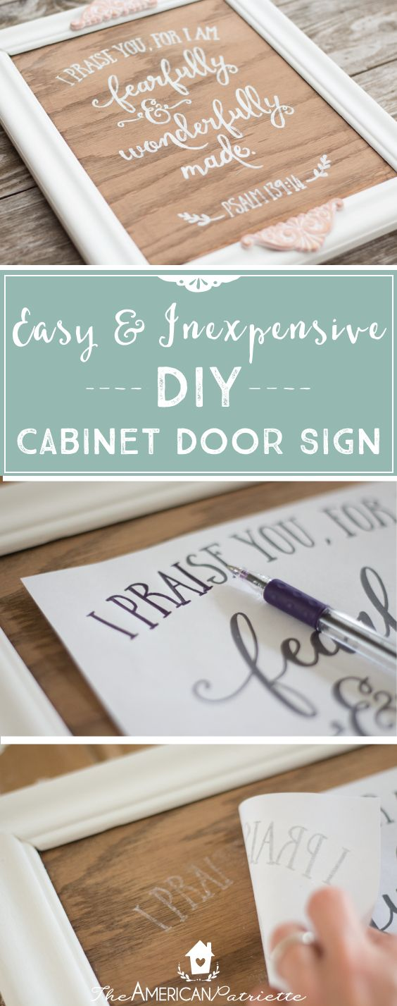 Easy and inexpensive DIY wooden cabinet door sign - completely customizable to your preference! The tutorial explains how ANYONE can achieve beautiful hand lettering on a sign for their home. Perfect to make as welcoming home decor, a gift, or decoration for your next get-together, party, or shower. Repurpose an old cabinet door today! Click on the link for the full tutorial! You won't want to miss out on learning to make something so lovely and so easy!