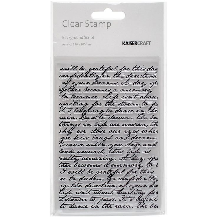 Kaisercraft Story Book Clear Background Stamp - Script – Scrapbooking-Warehouse