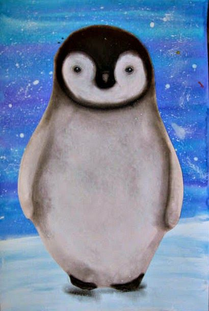 Penguin art using acrylic and watercolor for background & charcoal for shading the penguin. Such beautiful results