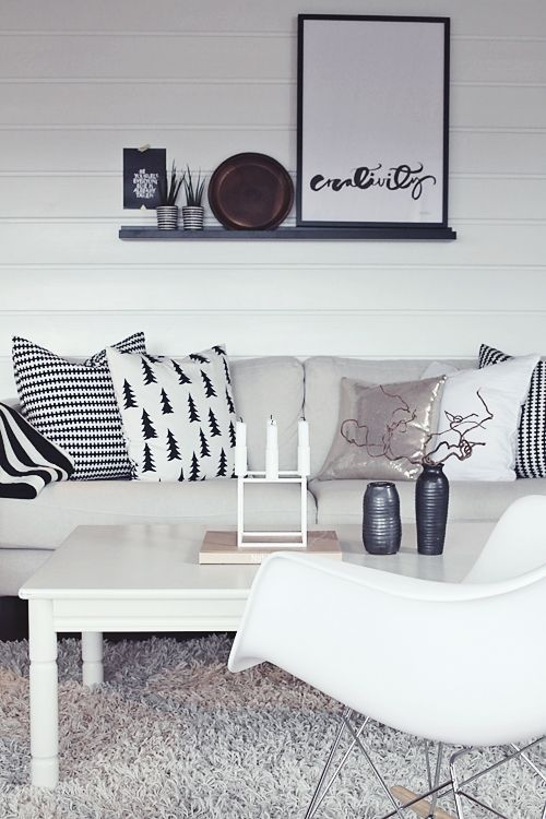 Modern scandinavian home common usage of black and white with simple designs (Less is more character in the home styling)