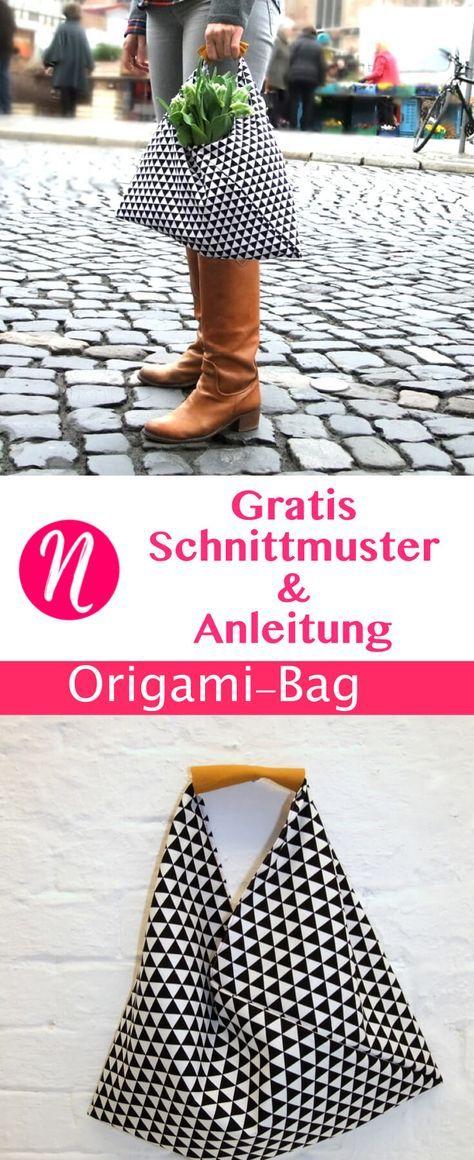 Origami-Bag selber nähen. Gratis Nähanleitung für ein japanische Origami-Tasche. ✂ Jetzt Nähtalente.de besuchen - Magazin für kostenlose Schnittmuster ✂