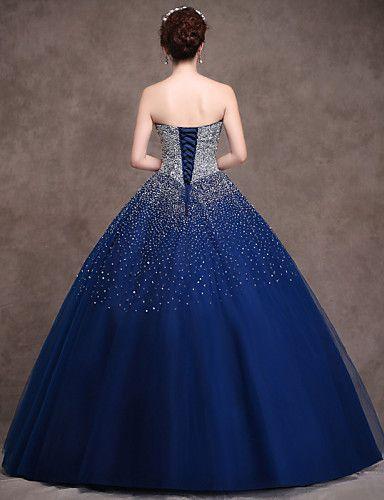 Vestido - Azul Marinho Escuro Festa Formal Baile Sem Alça Longo Cetim/Tule/Cetim Esticado de 3255645 2016 por $269.99