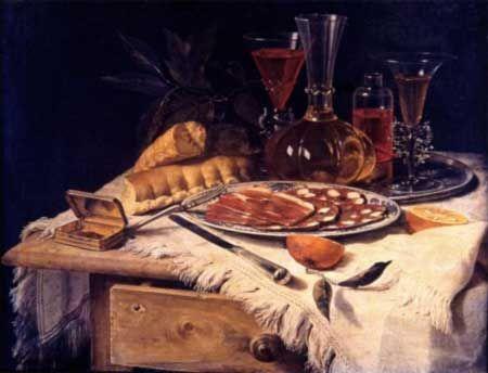 """Christian Berentz (Pittore) in: Galleria Nazionale di Palazzo Corsini con il dipinto olio su tela, 52x67,5, """"Lo spuntino elegante"""" del 1717."""