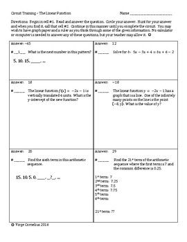Give your students engaging practice with the circuit format!  This 26-question circuit has it all... questions about arithmetic sequences, slope, and rate of change.  Solving equations, word problems, tables of values, graphs and function notation.  I wrote this to be a unit wrap-up for my algebra I students but it can be used for algebra 2 students as a refresher at the beginning of the year.