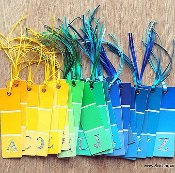 Paint Chip Alphabet Bookmarks Another creative way to make paint chip bookmarks. The possibilities are endless! Source: Scissors and Spoons