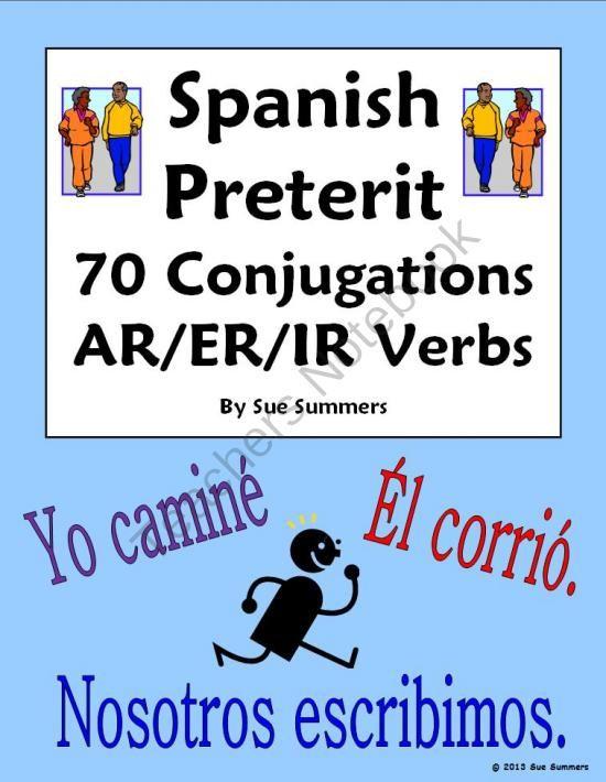 spanish preterit 70 ar er ir regular verb conjugations worksheet from sue summers on. Black Bedroom Furniture Sets. Home Design Ideas