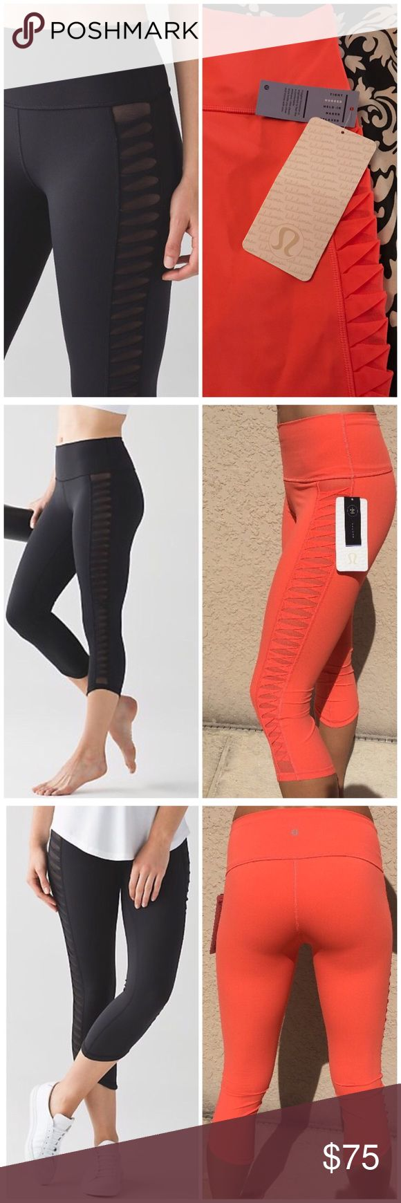 NWT Coral LULULEMON Sunshine Salutation Crop Coral color. Black stock photos are for reference only. Color is called Cape Red but is more coral than red. lululemon athletica Pants Track Pants & Joggers