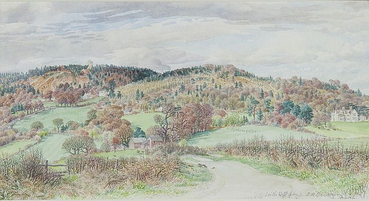 """Stanley Roy Badmin (British, 1906-1989) Leith Hill From S. (south). Original watercolor painting and pencil on paper. Signed and titled lower right """"Leith Hill From S. S .R. Badmin, March"""". Not inspected out of frame. Very good condition. Image size measures 5.2 inches high by 10 inches wide. Frame measures 17.7 inches high by 23.5 inches wide."""