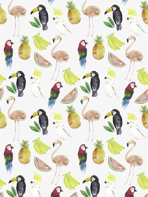 Flamingo, Parrot, Pineapple, Banana and Parakeet pattern. Umm all our favourite things!