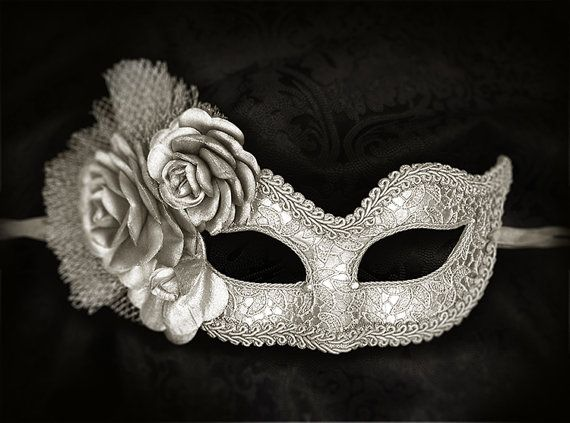 Metallic Silver Masquerade Mask With Fabric Roses by SOFFITTA