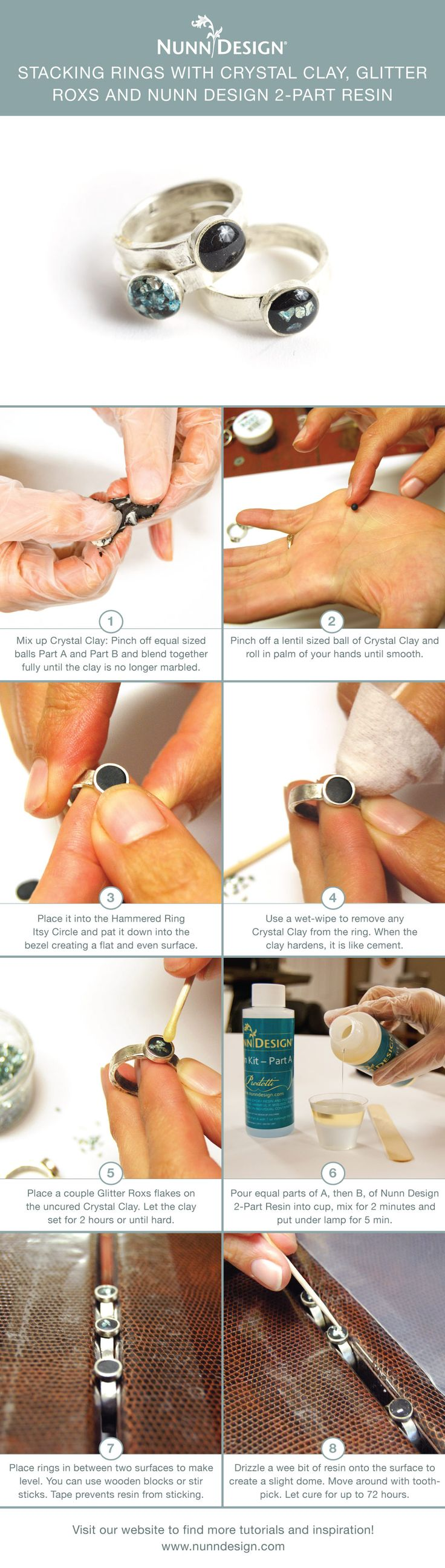 Create unique stacking rings with epoxy clay, Glitter Roxs and Nunn Design 2-Part Resin.