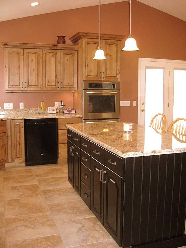 Knotty Alder Kitchen Cabinets Bead Board Island