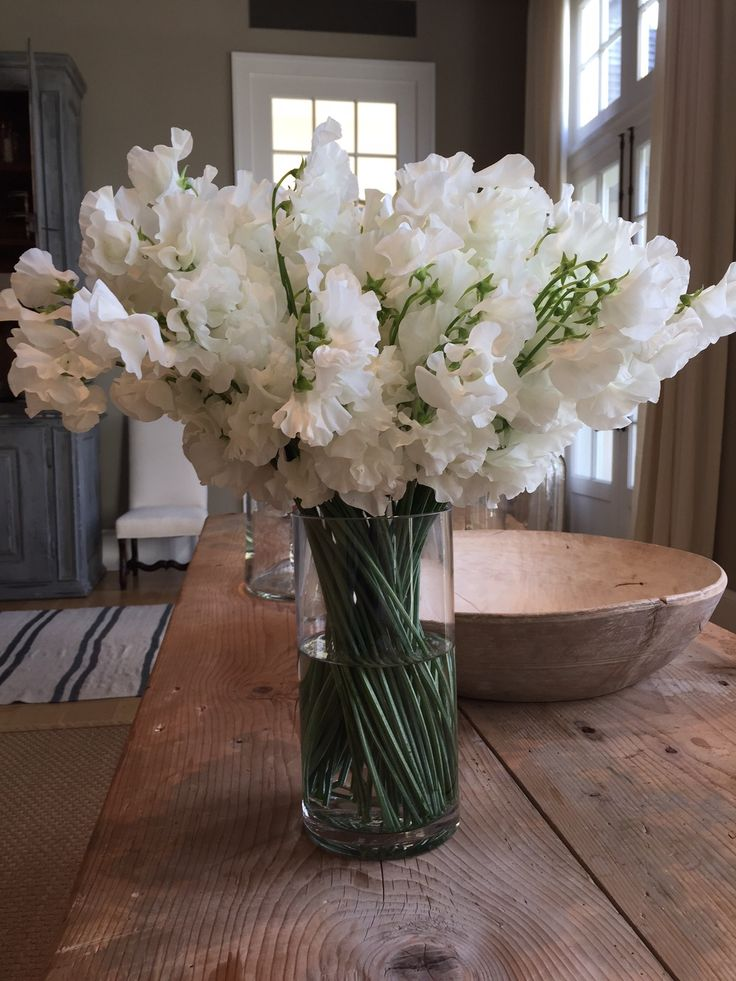 Gorgeous white sweet peas to remind us Spring will really come!