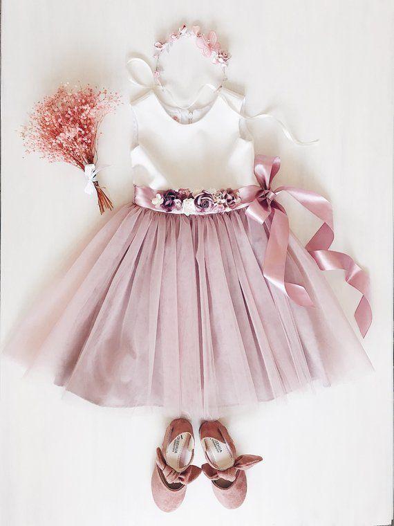f48a58f63b7d Flower girl dress, Dusty pink Flower girl dress, Flower sash, sash dress,  Wedding Bridesmaid, Easter