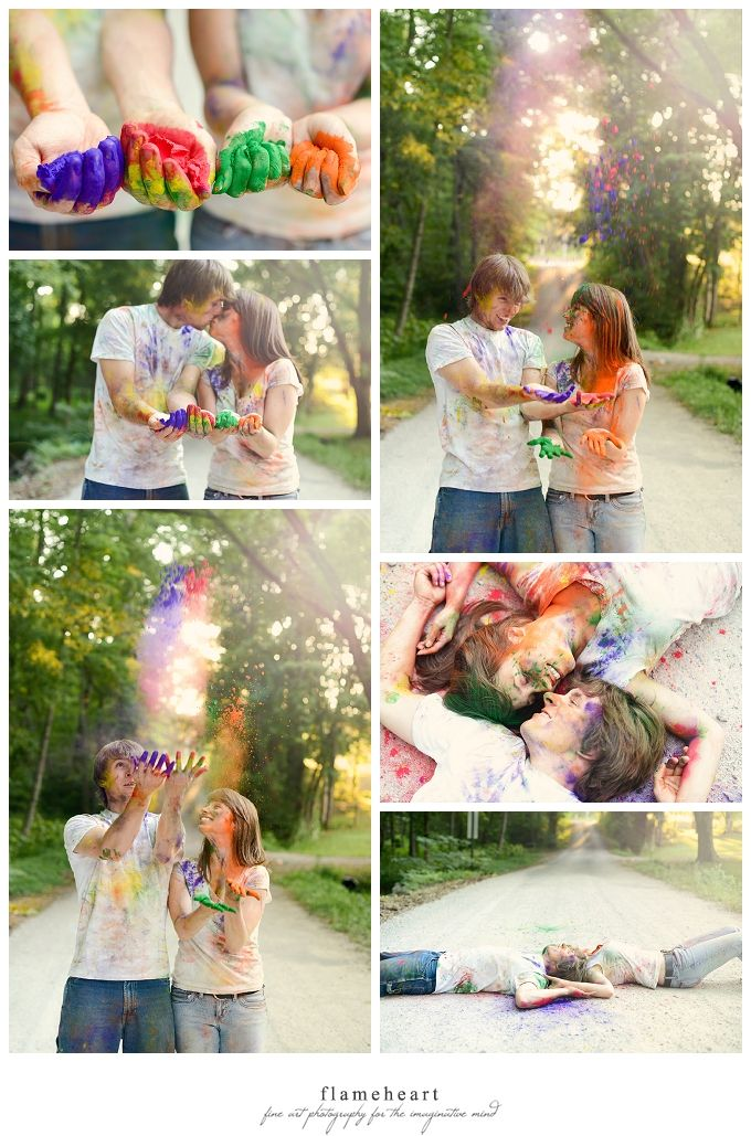 holi powder, color powder, engagement session