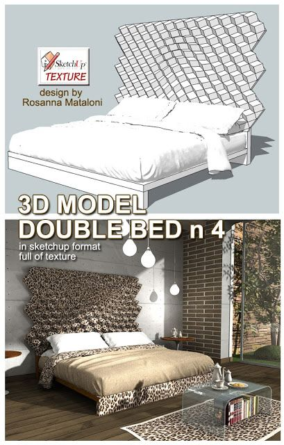 SKETCHUP TEXTURE: SKETCHUP 3D MODEL DOUBLE BED #4