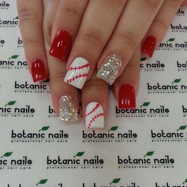 Baseballl Red Nails