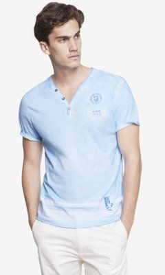 PATCHED Y-NECK HENLEY TEE from EXPRESS