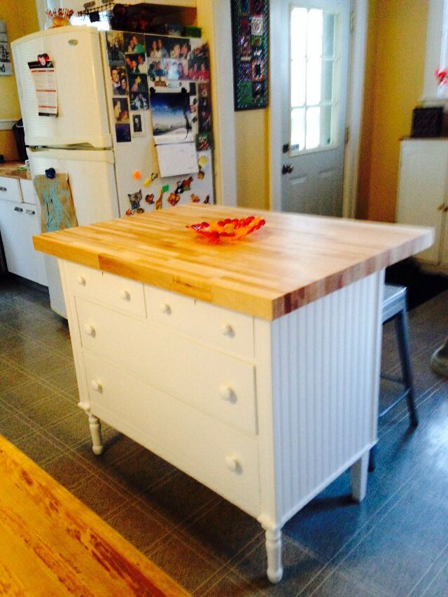 Made this kitchen island from an old dresser