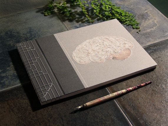 Brain Book. Anatomical Brain Album. Brain Anatomy Sketchbook. Hand Embroidered Japanese Stab Bound A4 Journal. Grey Guest Book