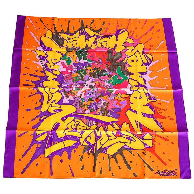 """Available mightychic.com Hermes Scarf Silk """"GRAFF HERMES"""" Signed KONGO new"""