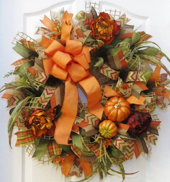 Fall Wreath Fall Burlap Wreath Fall Mesh Wreath by PinkBluebonnet