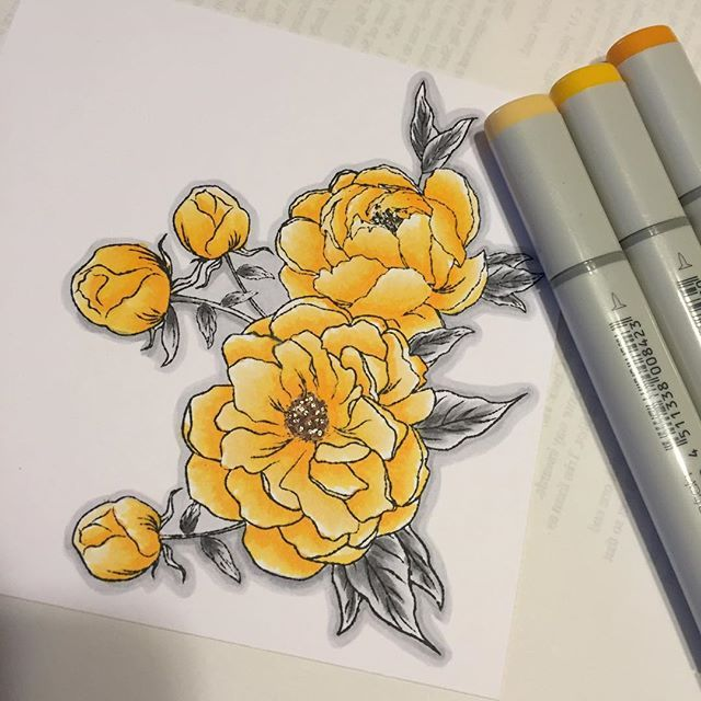 Wip Thetonstamps Happiest Peonies In Copic Y38 Y35 Y32 And Ns Oh Boy