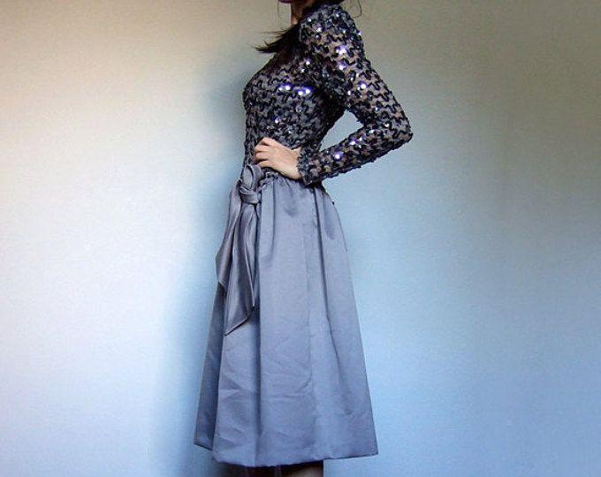 Gris de lentejuelas vestido Vintage manga larga vestido de fiesta años 80 caída cintura vacaciones Vestido de mujer - Extra pequeño XXS XS