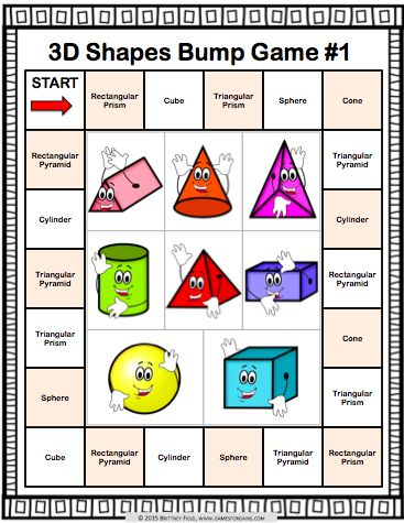 Get this and 9 other 3D shapes bump games to help students practice identifying and classifying 3D shapes. Within these 3D shapes games, students practice matching the names of 3D shapes to images, real-world images, nets, and to specific characteristics (number of faces, edges, and vertices).  3D shapes included: Cube, Rectangular Prism, Rectangular Pyramid, Triangular Prism, Triangular Pyramid, Cone, Cylinder, Sphere.