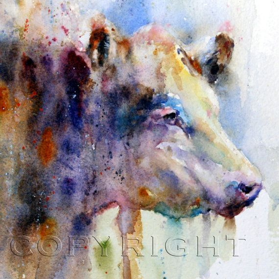 HEREFORD Cow Watercolor Print by Dean Crouser by DeanCrouserArt, $25.00