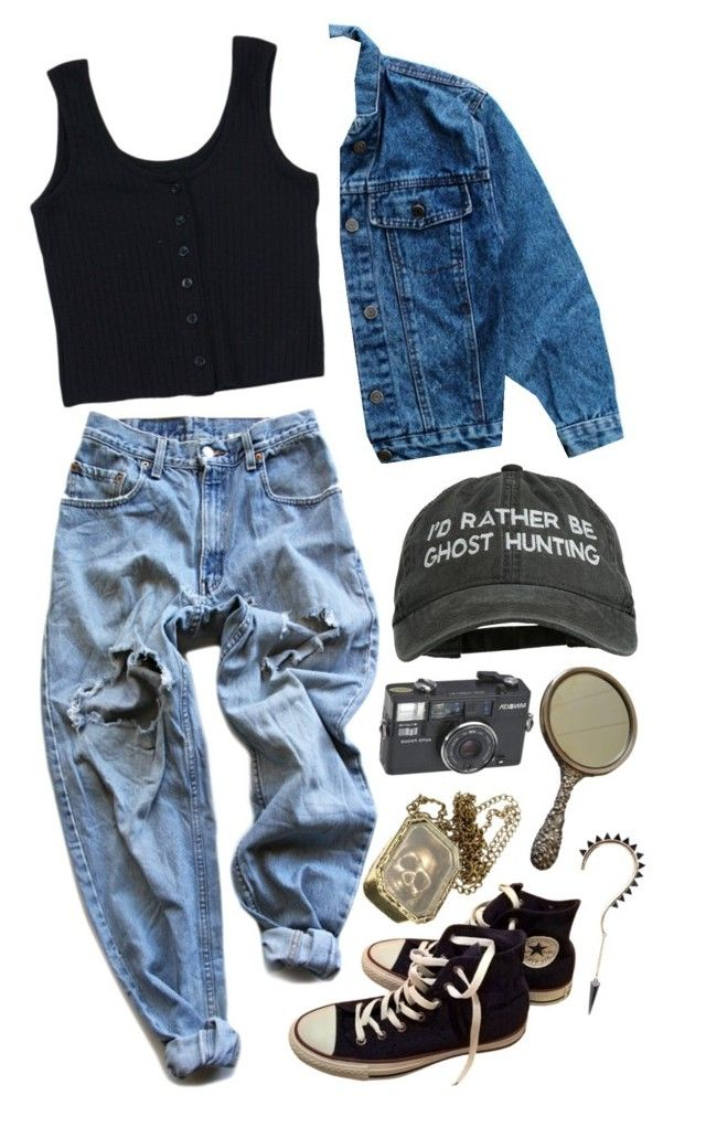 """""""ghost huntin"""" by lepidus ❤ liked on Polyvore featuring Converse, Steiff and Levi's"""