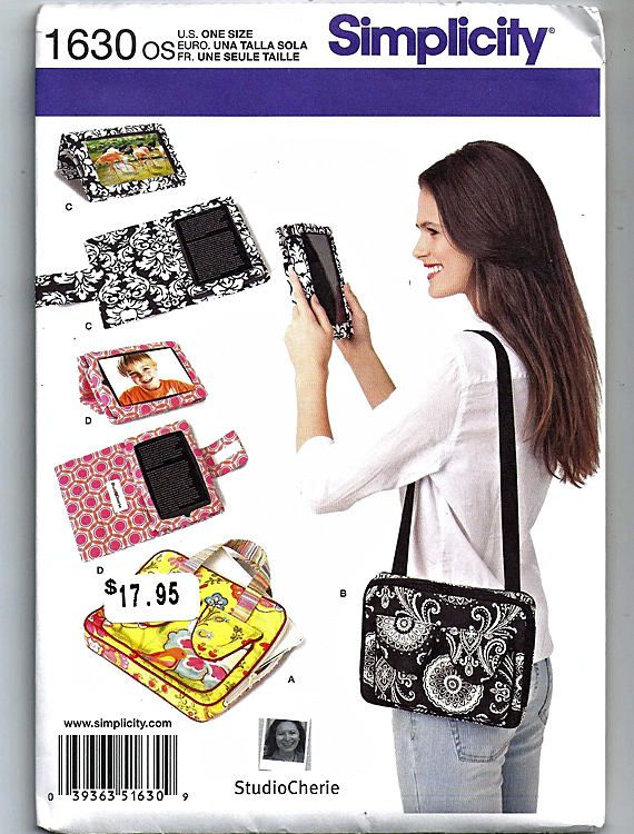 Cover For E-Book Readers and Carry Case With Handle For Tablet  / Original Simplicity Uncut Sewing Pattern 1630 os by grammysyarngarden on Etsy