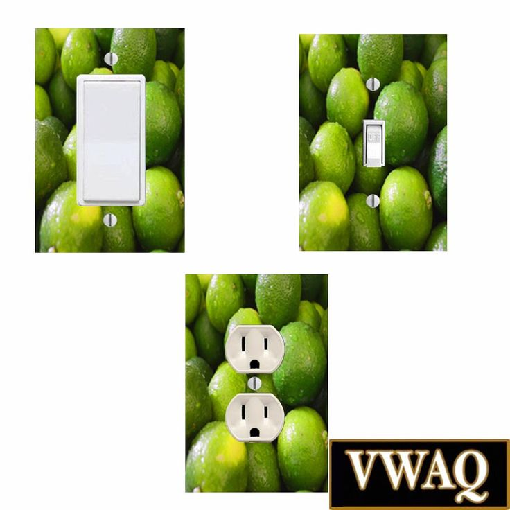 Limes Light Switch Covers and Limes Wall Plug Covers Pack of (3) (Ready to Hang) Light Switch and Wall Plug Wall Plate Covers VWAQ-3PK25