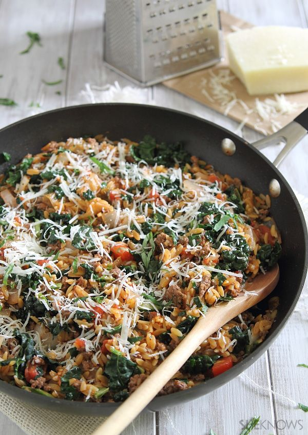 Orzo beef skillet