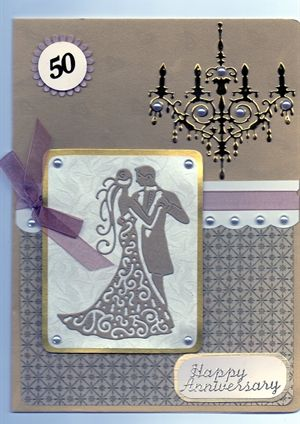 Golden Anniversary using tattered lace