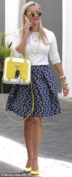 Reese Witherspoon looks fantastic at 40 in skirt from her own line,  #fantastic …