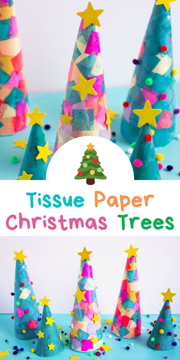 Kids Week Tissue Paper Christmas Trees In 2020 Christmas Diy Kids Easy Christmas Diy Paper Christmas Tree